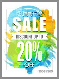 Summer Sale Flyer, Sale Banner, Sale Poster, Discount upto 20%. Vector illustration with colorful abstract design.