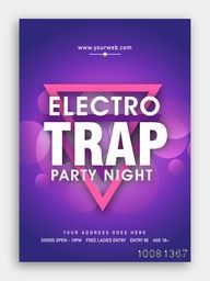 Electro Trap, Party Night Template, Dance Party Flyer, Musical Party Banner or Club Invitation design.
