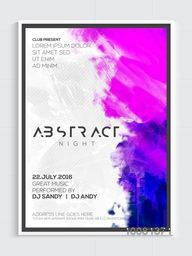 Abstract Night Party Template, Dance Party Flyer, Night Party Banner or Club Invitation design.