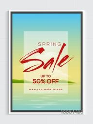 Spring Sale Flyer, Sale Banner, Sale Poster, Upto 50% Discount Offer.Vector illustration with beautiful nature view.