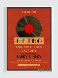 Retro Template, Banner or Flyer design with glossy vinyl for Musical Party celebration.