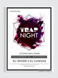 Trap Night Party Template, Dance Party Flyer, Night Party Banner or Club Invitation design with abstract design.