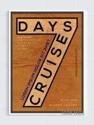 Vintage Template, Banner or Flyer design for 7 Days Cruise Party celebration.