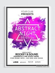 Abstract Night Party Template, Dance Party Flyer, Musical Party Banner or Club Invitation design with color splash.
