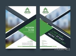Modern flyer layout, Professional template with space for images, Creative brochure with front and back page presentation. Vector for Business concept.