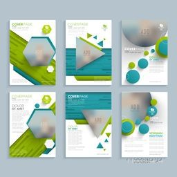 Set of flyer cover page design in six different patterns, Abstract template, brochure layout with space to add images.