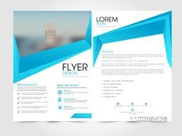 Business flyer, template or brochure design with front and back page presentation.
