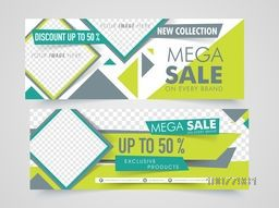 Website header or banner set of Mega Sale with 50% discount offer and free space to add your images.