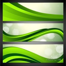 Nature and Eco website header or banner set with green abstract waves.