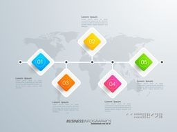 Creative infographic elements in square shape on world map for Business.