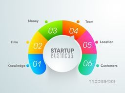 Colorful infographic element for New Business Start Up concept.