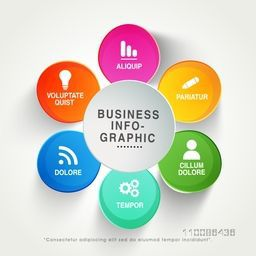 Colorful infographic circles layout with different symbols for Business concept.