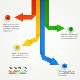 Colorful infographic arrows with web symbols, Can be used for workflow layout, diagram, business reports and presentation.