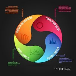 Colorful infographic circle with graphs or charts, Can be used for workflow layout, diagram, business reports and presentation.