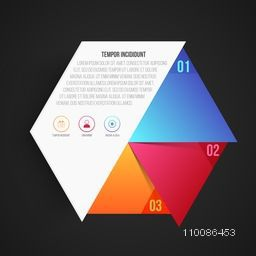 Creative infographic element in hexagon shape with web symbols, Can be used for workflow layout, diagram, business reports and financial data presentation.
