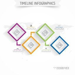 Timeline infographics elements in square shape on world map, Creative vector illustration for Business concept.