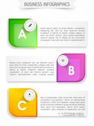 Business infographic template layout with paper banners and web symbols.