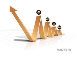 Glossy 3D infographic arrow showing growth for Business purpose.