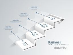 Creative Business infographic elements in steps shape showing financial growth on shiny background.