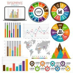 Big set of colorful various Business Infographic elements with statistical bar, graph and chart.
