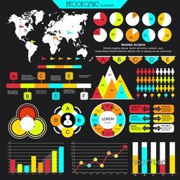 Big set of various colorful Infographic elements for your professional reports and financial data presentation.