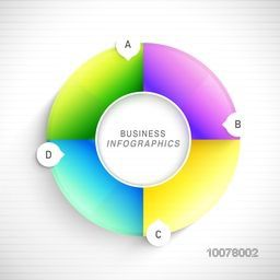 Glossy colorful infographic circle on shiny background for Business purpose.