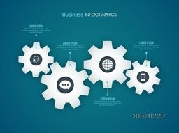 Shiny cog wheels infographic elements with web symbols on blue background for Business.