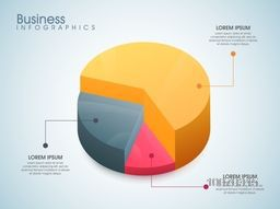 Creative colorful 3D pie chart for your Business reports and financial data presentation.