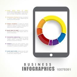 Colorful 3D pie chart on tablet screen for your Business reports presentation.