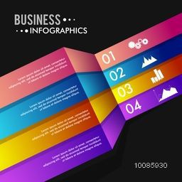 Colorful infographic elements with number option, Glossy infographic paper banners, Can be used for workflow layout, business reports and presentation.