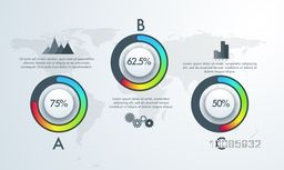 Creative infographic template layout with statistical graphs for financial growth, business reports and presentation.