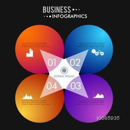Colorful infographic circles with number option, Can be used for workflow layout, diagram, chart and presentation, Vector illustration for Business concept.
