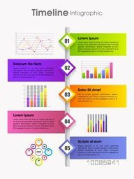 Timeline infographic template layout including colorful banners, statistical graphs, bars and charts for your Business.