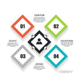 Colorful infographic elements in square shape for Business concept.