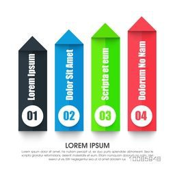 Colorful paper infographic arrows with numbers on white background for Business concept.