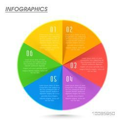 Colorful pie chart infographics on white background for Business reports and presentation.