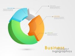 Colorful 3D infographics chart with statistics for Business reports and financial data presentation.