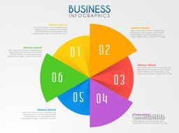 Colorful pie chart infographics with number and statistics for your Business reports and financial data presentation.
