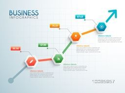 Growth arrow infographics with statistics and web symbols for Business reports, presentation and workflow layout.