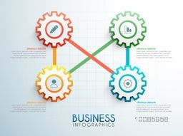 Connected gears infographics with web symbols for workflow layout, business reports and presentation.