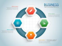 Business infographic template layout with web symbols.