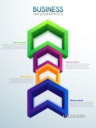 Infographic template layout with colorful 3D arrows for your Business reports and presentation.