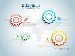 Gears and web symbols on world map background, Creative infographic template layout, Vector illustration for Business reports and presentation.
