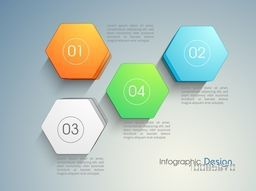 Colorful 3D infographic elements in hexagon shape with numbers for your Business.