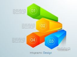 Colorful glossy 3D infographic elements with number option for your Business presentation.