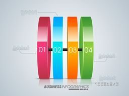 Colorful glossy infographic elements for Business reports and financial presentation.