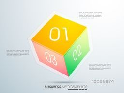 3D colorful cube infographics with numbers for Business reports and presentation.