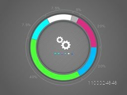 Colorful statistical infographic circle for Business report and presentation.