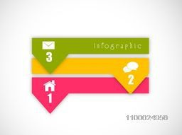 Creative colorful pointer infographic element with web symbols for Business.