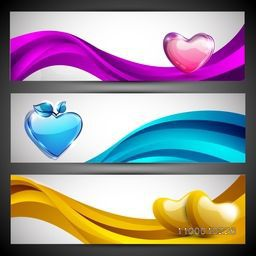 Love website header or banner set with pink, yellow and sky blue hearts on wave. EPS 10.